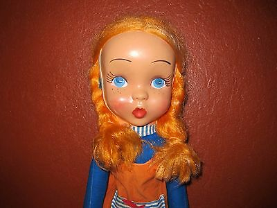 "vintage long leg celluloid plastic face doll 24"" cloth body"