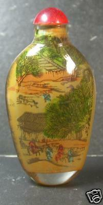 CHINESE GLASS INSIDE PAINTING Tree Boy SNUFF BOTTLE 810941