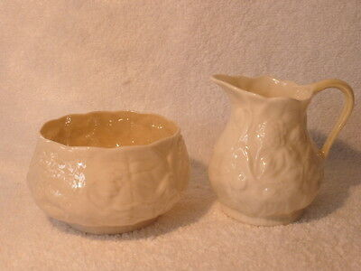 BELLEEK Vintage Floral Creamer & Open Sugar Bowl NR