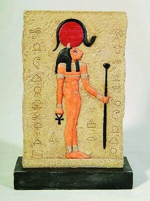 EGYPTIAN SEKHMET PLAQUE with STAND STATUE.ANCIENT EGYPT COLLECTIBLE