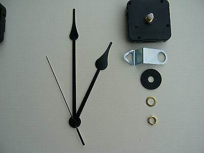 High Torque Clock Movement  Medium Spindle 6 Inch Black French Spade Hands