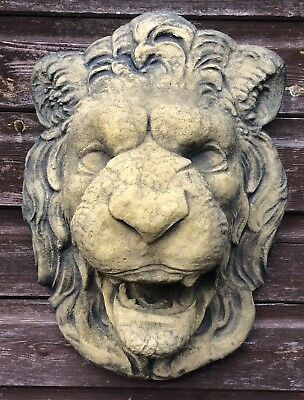 "Lion Head wall plaque fountain mask frost proof stone garden ornament 50cm/19""H"