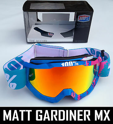 100% PERCENT ACCURI MX MOTOCROSS GOGGLES 90S GALORE with RED INFERNO MIRROR LENS