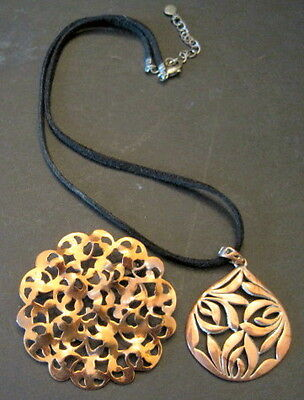 2 Abstract Modernist Copper Pin & Necklace Mid Century