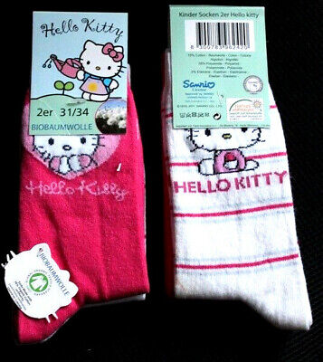 (1,48€/Paar)  Hello Kitty KinderSocken 2er Pack Sanrio 31/34 Pink/Weiß