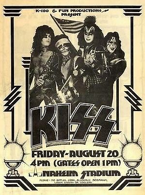 Kiss-Anaheim Stadium,20th August 1976,vintage poster repro..