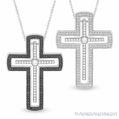 Christian Cross Crucifix Charm CZ Crystal Pendant .925 Sterling Silver Necklace
