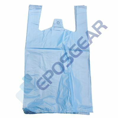 100 Large Blue Strong Recycled Eco Plastic Vest Shopping Carrier Bags 22mu