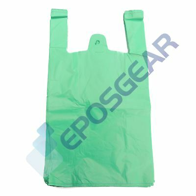 1000 Large Green Strong Recycled Eco Plastic Vest Shopping Carrier Bags 18mu