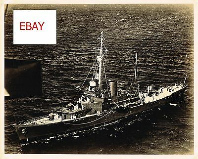 Wwii Rare Vintage Uscg 8X10 Photograph Ship In Action At Sea Wwii 1940's