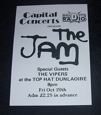 The Jam -Top Hat Dun Laoghaire,Ireland, 20th Oct..1978 concert poster repro..