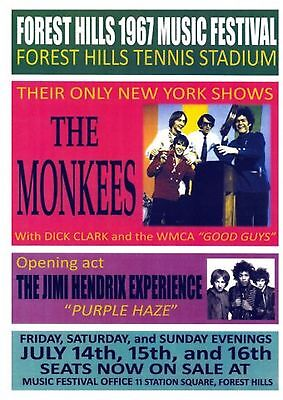 The Monkees-Forest Hills 1967 Music Festival-Jimi Hendrix opening-concert poster