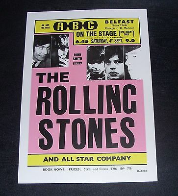 ROLLING STONES-Irish Tour ABC Theatre Belfast 4th September 1965 poster repro..