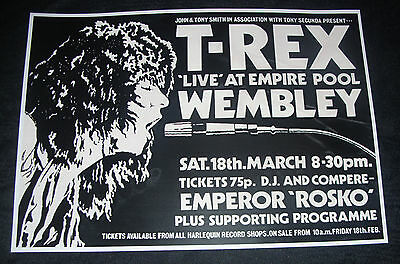 T.Rex-Empire Pool,Wembley,London,England 18th March 1972 concert poster