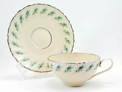 Lenox ROSEDALE Flat Cup and Saucer Set 2.25 in. Swirl Rim Small Blue Roses