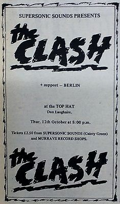 THE CLASH Top Hat Dun Laoghaire Dublin Ireland 12th Oct.1978 concert poster