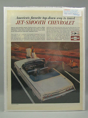 1962 Laminted Print Ad Chevy Impala Jet-Smooth Ride