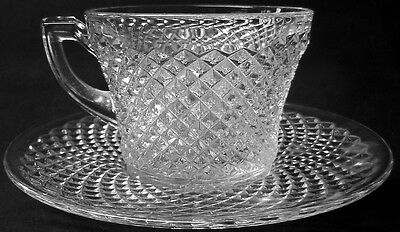 Westmoreland Glass Clear Crystal English Hobnail Pattern Cup & Saucer Set    /s