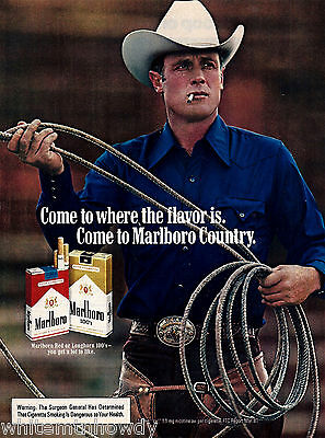 1982 MARLBORO MAN Cigarettes Photo AD~Cute Young Cowboy in White Hat