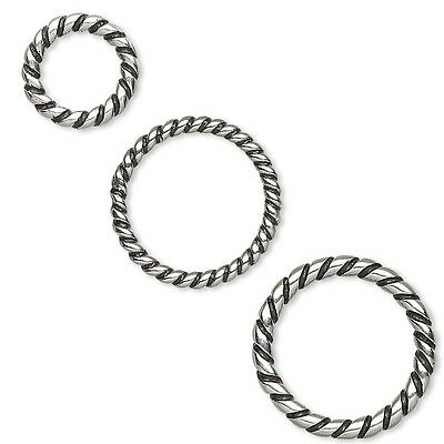 Lot of 10 Big Round Antique Stainless Steel Twisted Closed Jumpring Ring Beads