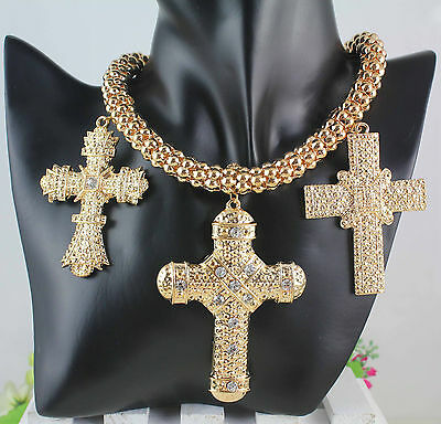 New Women Fashion Jewelry Cross Gold Metal Pendant Necklace Clear Crystal LW