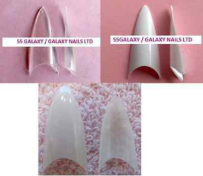 CLEAR WHITE NATURAL STILETTO / CONE WELL-LESS TIPS * 100 or 500 *   nail acrylic