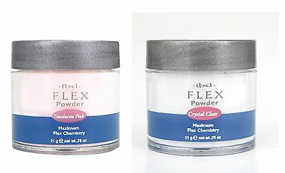 IBD Flex Acrylic Nail powder 21g gram - choose from  BRIGHT WHITE, PINK, CLEAR