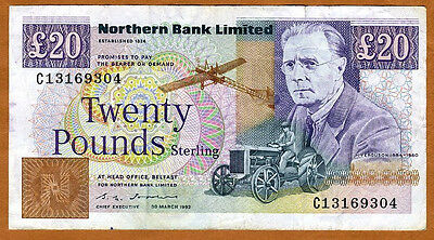 Ireland, Northern Bank, 20 pounds, 1992, P-195 (195b), F > Plane, Tractor