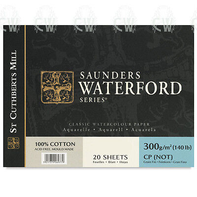 """Saunders Waterford Artists Watercolour Paper Block 12""""x9"""" NOT Surface"""