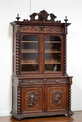 55623 : Antique French Renaissance 2Pc Oak Bookcase