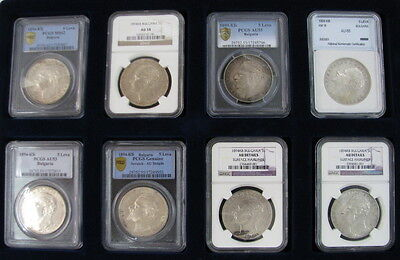 Rare Set Of 8 Antique Silver Bulgarian Coins 5 Leva 1894 Pcgs Ms62++ Bulgaria >>