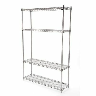 Gray Powder Coated Wire Shelving  Unit 4 Shelves/4Post 14x48x74