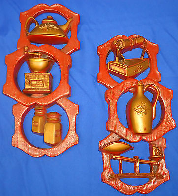 1977 Miller Studios Vintage Red & Light Brown Kitchen Style Wallhangs A135
