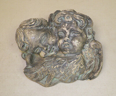 Vintage Concrete Chippy Patina Pair Of Cherubs Wall Hanging Heavy