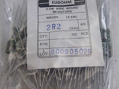 100x WR250 Wire Wound Resistors 2.5W Watt  Eurohm 5% 2.2 ohms 2R2 Trade Pack 791