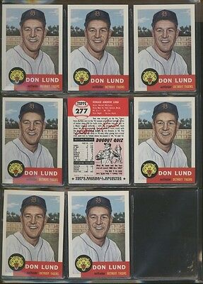 1991 Topps Archives 1953 #277 Don Lund Lot of 8 Tigers B54080