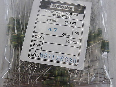 100x WR250 Wire Wound Resistors 2.5W Watt  Eurohm 5% 47 ohms 47R Trade Pack 793