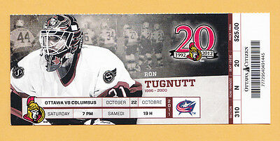 Ottawa Senators Vs Columbus Blue Jackets Full Ticket Stub Ron Tugnutt 10/22/11