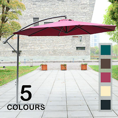 3m Garden Parasol Sun Shade Patio Banana Hanging Set Umbrella Cantilever