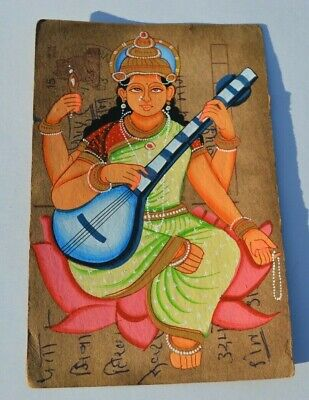 A Nice Old Rajasthan Miniature Painted Indian Postcard Of Indian God Lakshmi