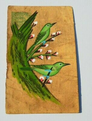 A Nice Old Rajasthan Miniature Painted Indian Postcard Of Parrots  61