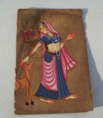 A Lovely Old Rajasthan Miniature Painted Indian Postcard Of A Indian Woman. 67