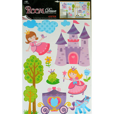 Wholesale Job Lot 48 Packs Glitter Room Decor Removable Wall Stickers - Princess