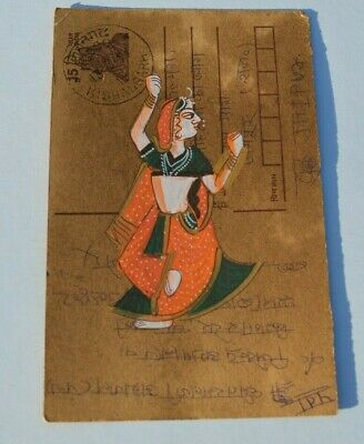A Lovely Old Rajasthan Miniature Painted Indian Postcard Of A Indian Lady  71