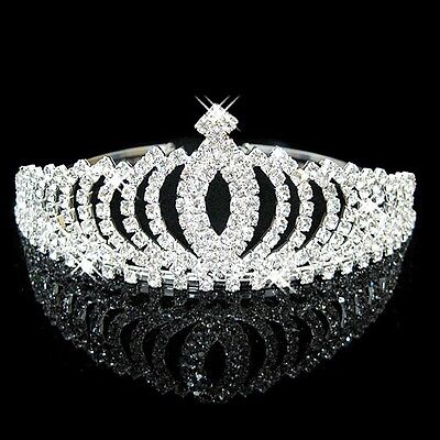 Princess Bridal Wedding Tiara Sparkling Crystal Crown Headband Halloween
