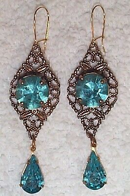 Vintage Incredible Faceted Aqua Glass With  Filigree Brass  Earrings On Sale