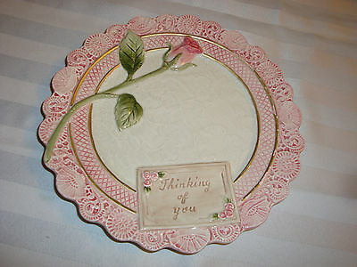 Fitz Floyd Victorian Postcards THINKING OF YOU Pink Rose Seashell Canape Plate