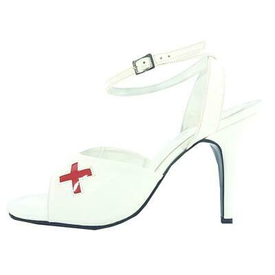 White Red X High Heel Court Pump Shoes Nurse Transvestite UK 8 9 10 11