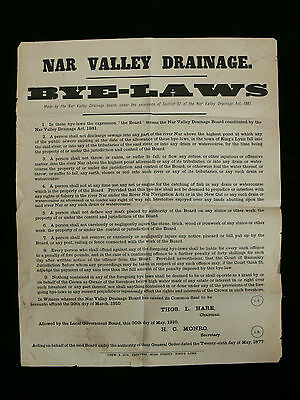 1910 Nar Valley Drainage Bye-Laws Poster - Norfolk