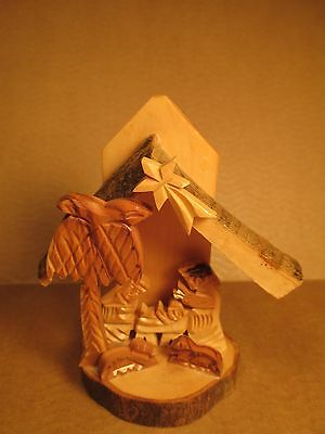 "Nativity Scene / Manger Scene - Hand Carved Olive Wood? All 1 Piece 4"" Tall"